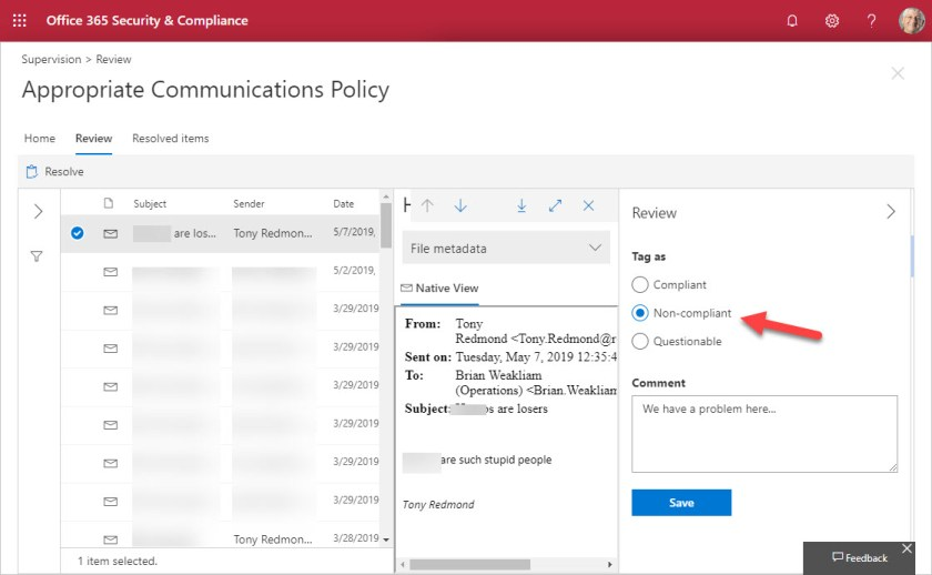 Reviewing items captured by an Office 365 supervision policy