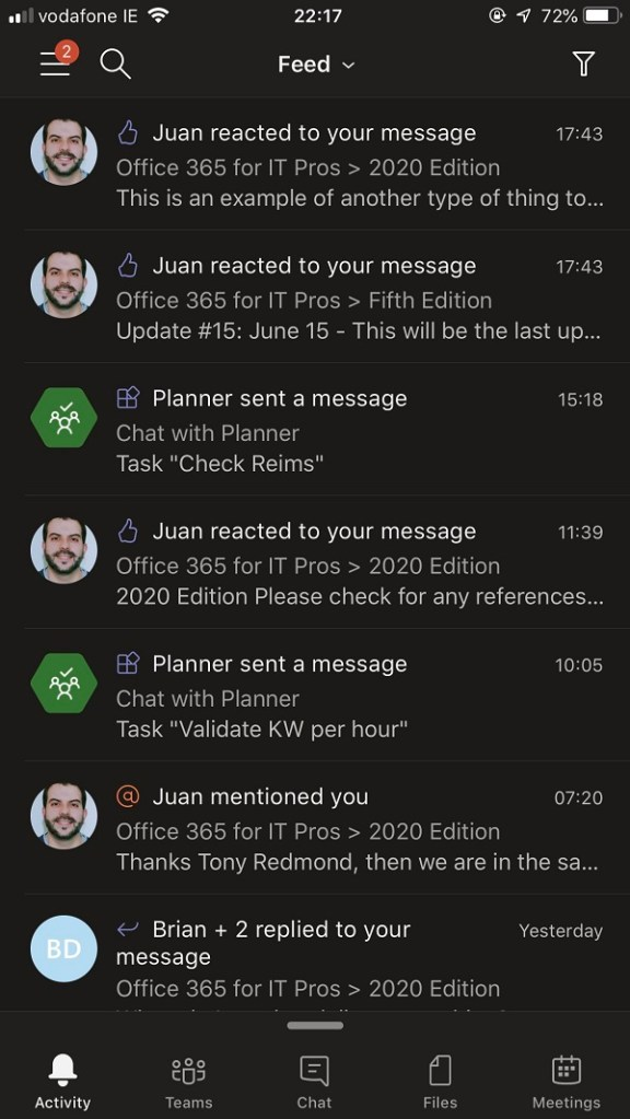 Planner notifications in Teams for iOS