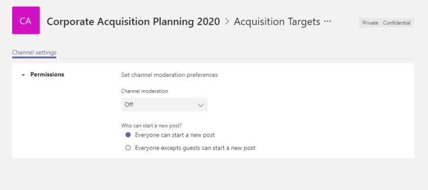 Channel moderation settings in Teams