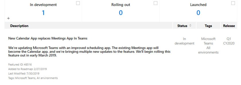 Office 365 Roadmap says that the Calendar App replaces the Meetings App