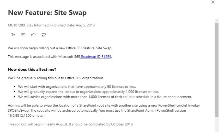 Office 365 Notification MC187289