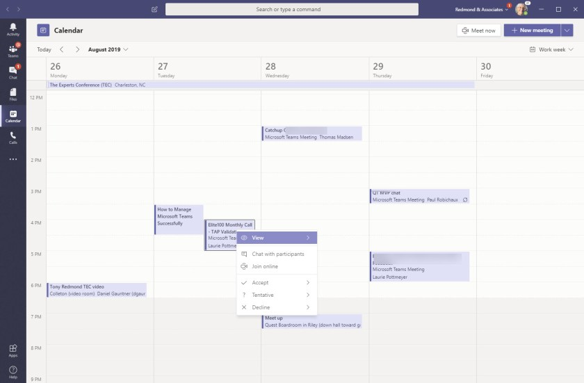 The new Teams Calendar App in Work Week view