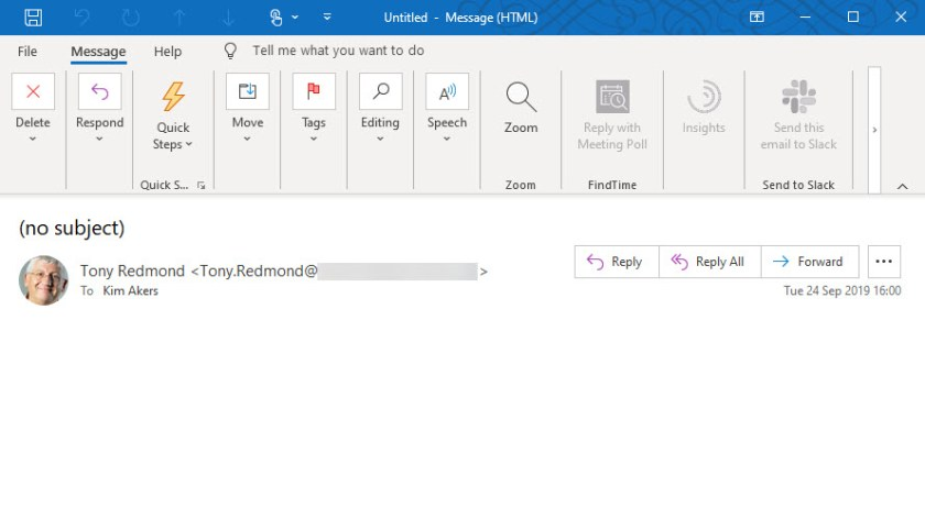An Office 365 compliance record captured for a Teams voice memo