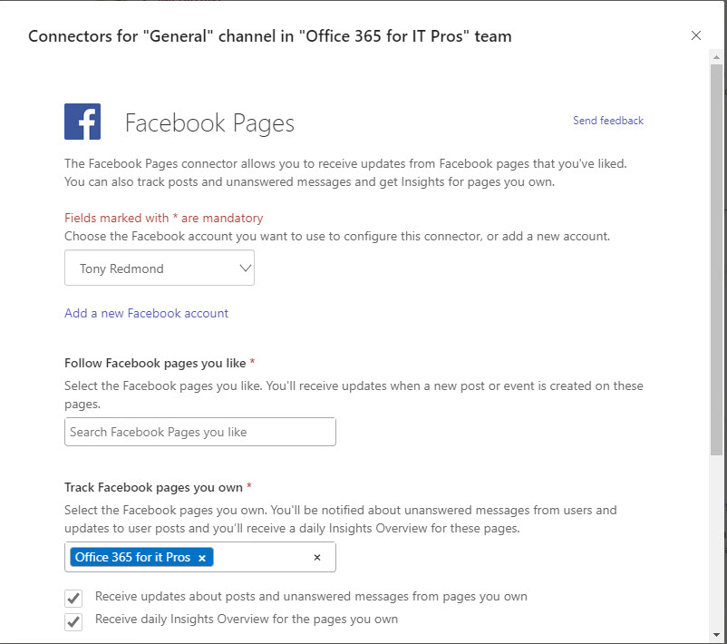 Configuring the Office 365 Facebook connector to bring page information in a Teams channel