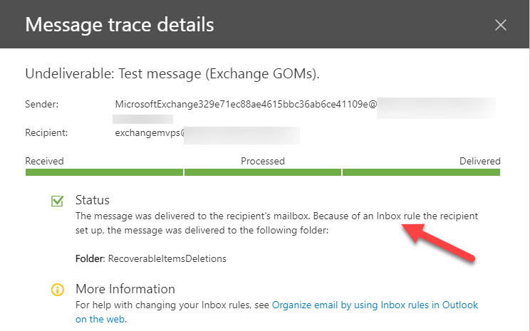 Message trace detail tells us what happened to the NDR