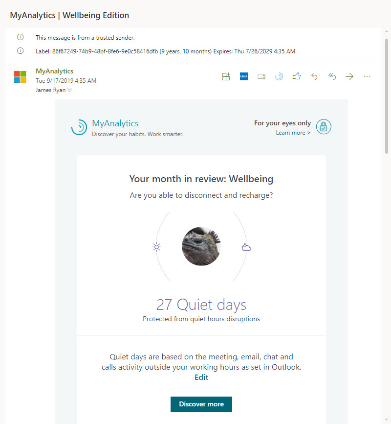 "A MyAnalytics ""Wellbeing"" Email"