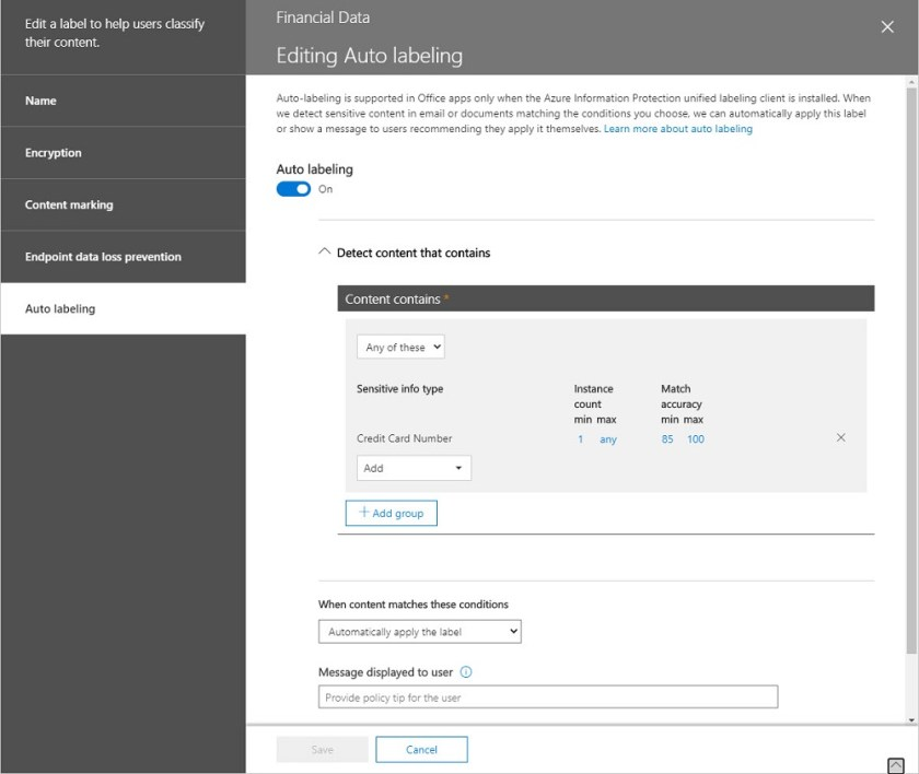 Properties of an Office 365 Sensitivity Label configured for automatic labeling