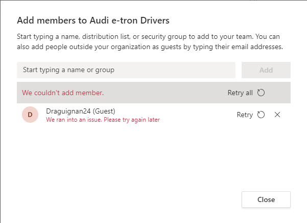 Teams can't add a new guest account to team membership