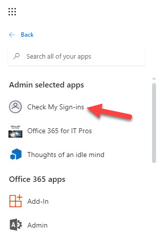 The custom tile for Check My Sign-Ins appears in the Office 365 apps menu