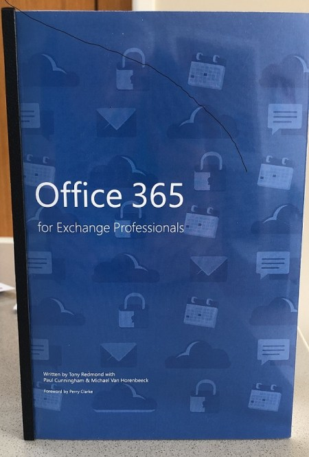 The front cover of the printed copy of Office 365 for Exchange Professionals