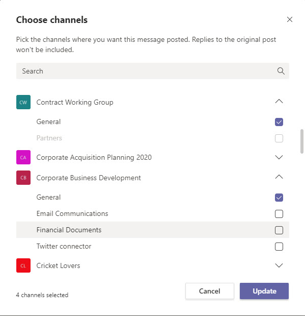 Choosing channels for cross-posting
