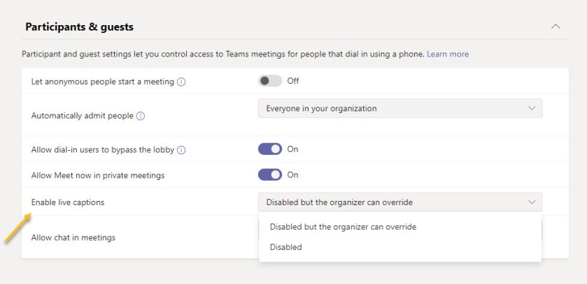 Updating a Teams Meeting policy to enable live captions