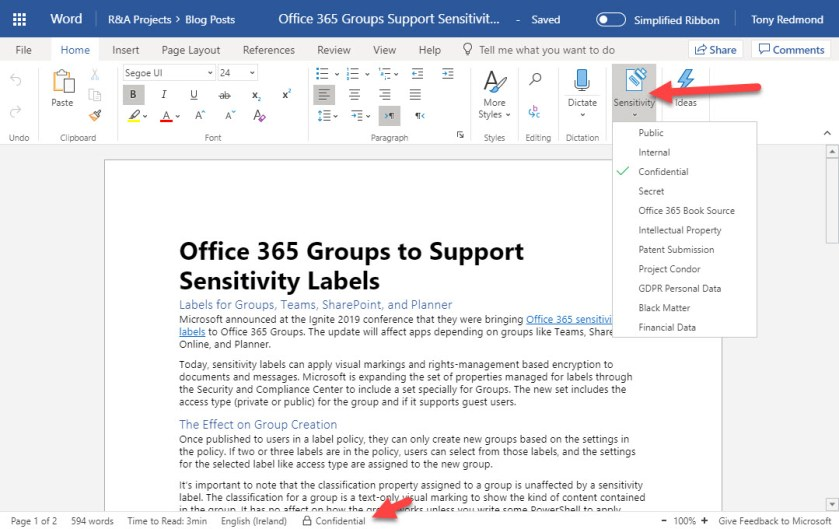 Office Online apps support Office 365 Sensitivity Labels