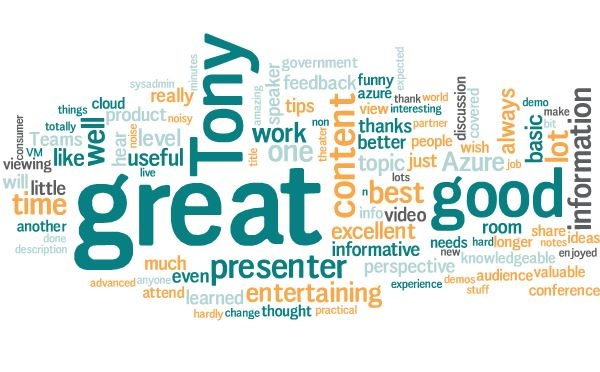 Word cloud of feedback from Ignite 2019 session