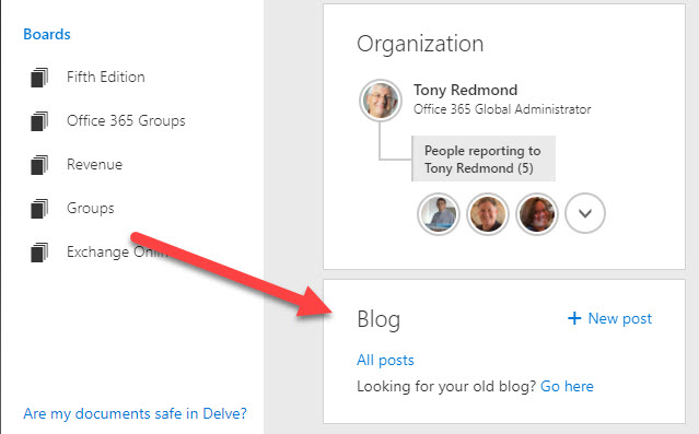 Access to blogs is part of the Delve user interface