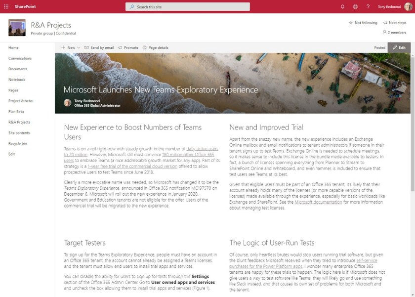 News item published and viewed in SharePoint