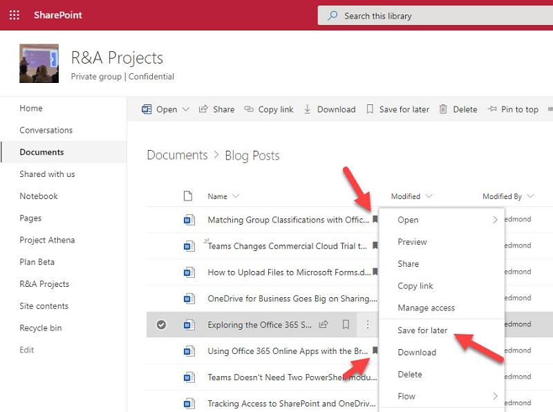 Saving a SharePoint Online document for later
