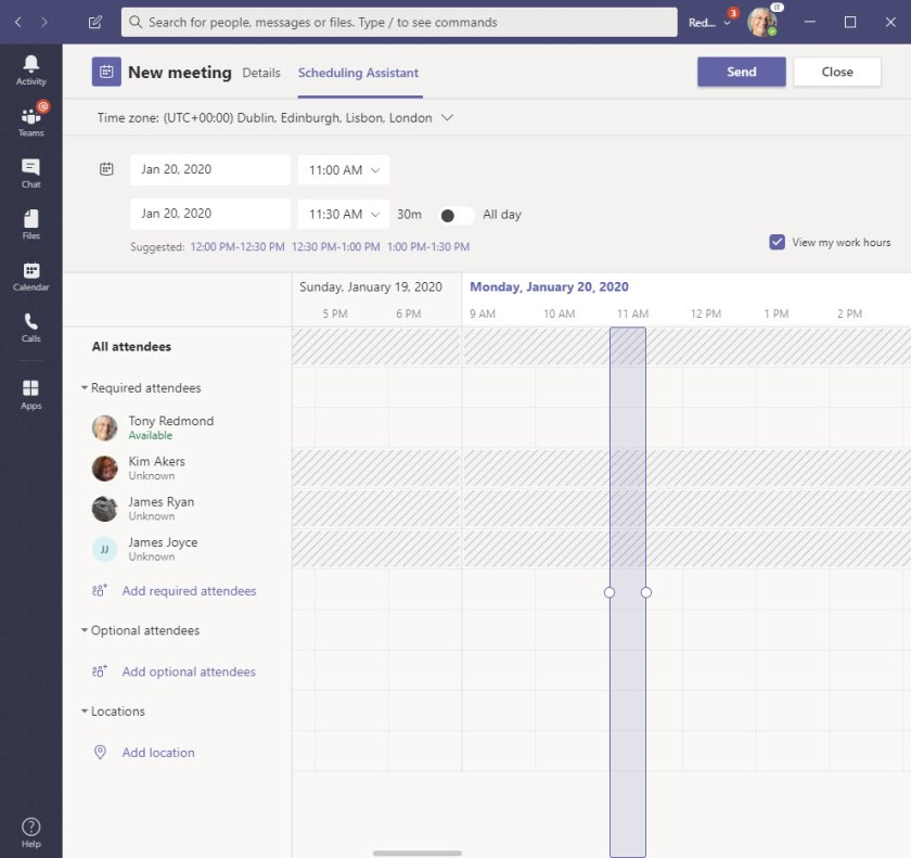 Teams scheduling assistant