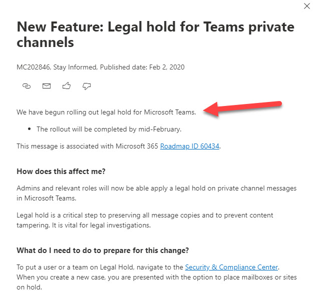 Office 365 Notification MC202846