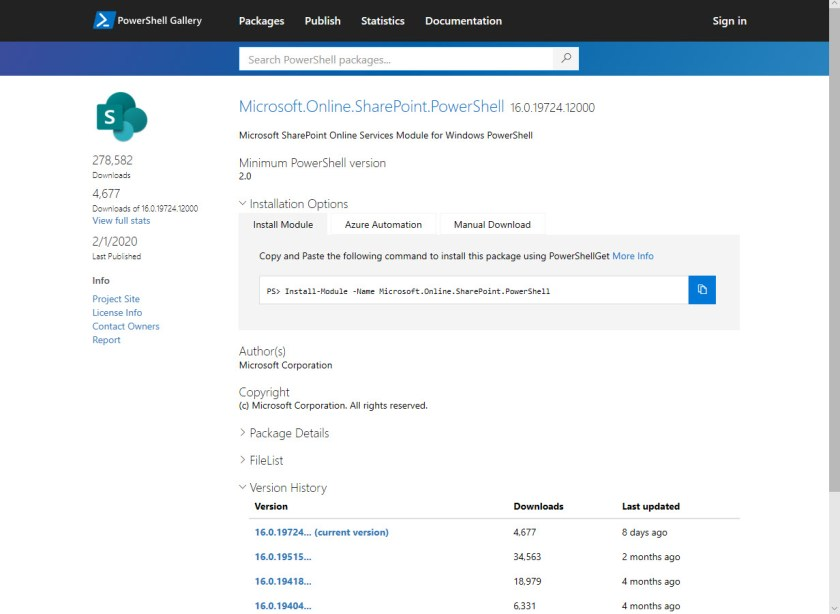 SharePoint Online PowerShell Module in PowerShell Gallery