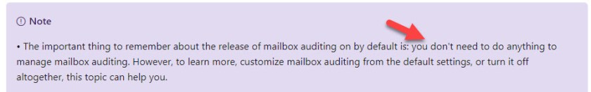 No management necessary for mailbox auditing?