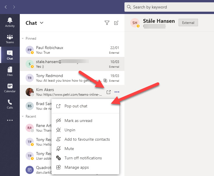 Teams Pop Out Windows For Chats And Meetings Office 365 For It Pros