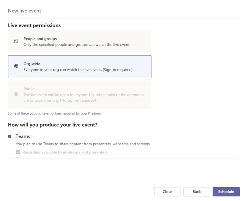 Assigning permissions for a Teams Live Event