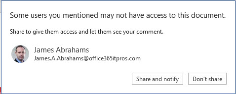 Word offers to share a document so the @mentioned person can access it