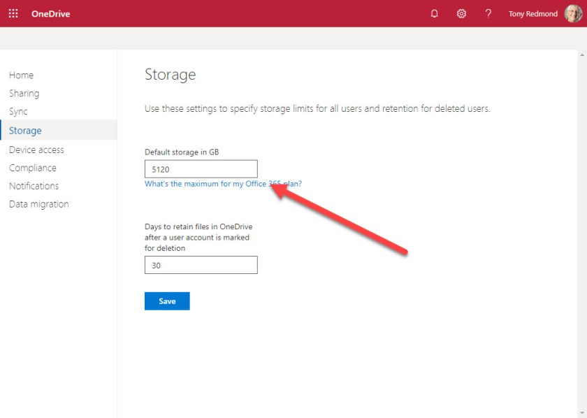 Setting a tenant default for OneDrive for Business storage quota