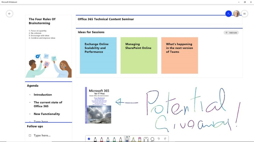 Working in the Windows Whiteboard app