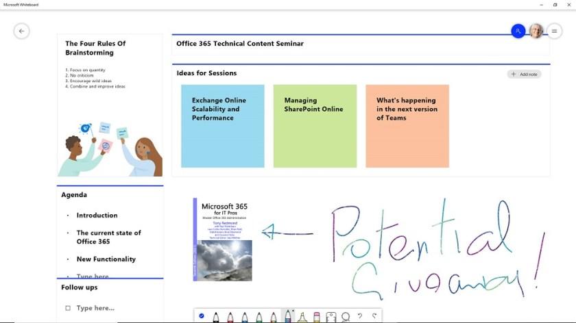 Working in the Windows Whiteboard app