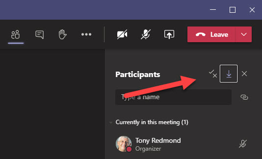 Downloading a Teams Meeting Participant List