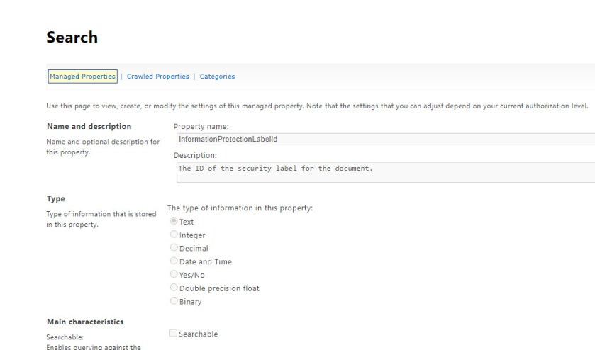 The InformationProtectionLabelId managed property in the SharePoint Online schema