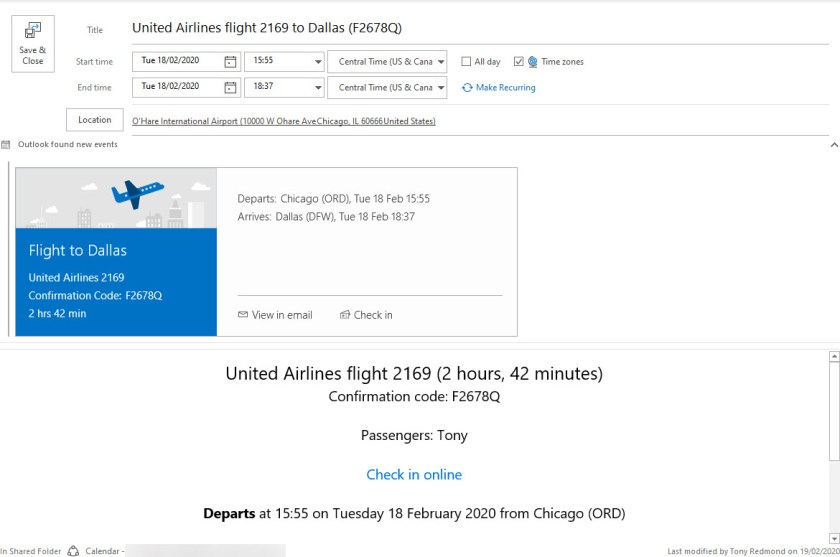A calendar event created by Exchange Online from an airline notification