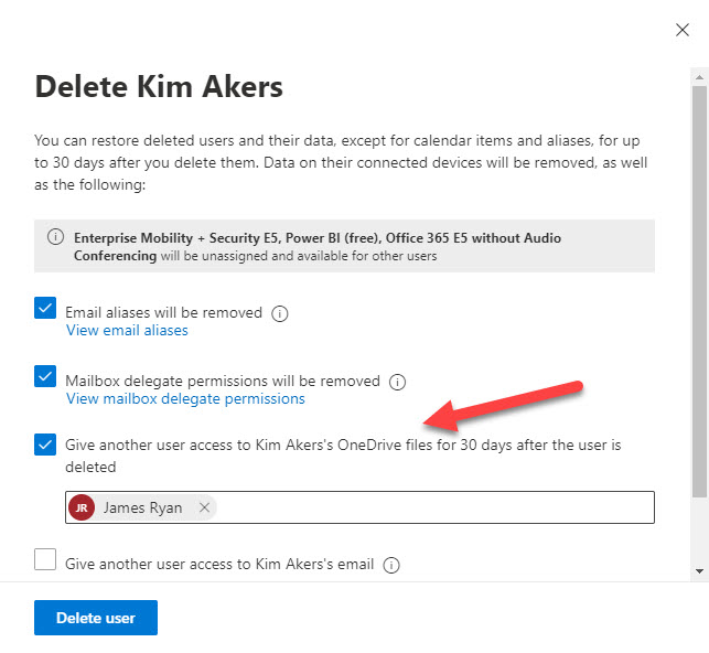 Assigning access to a user's OneDrive for Business account when their account is deleted