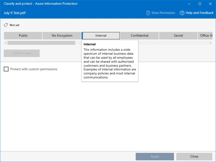 Applying a sensitivity label to a PDF using the Unified Labeling client