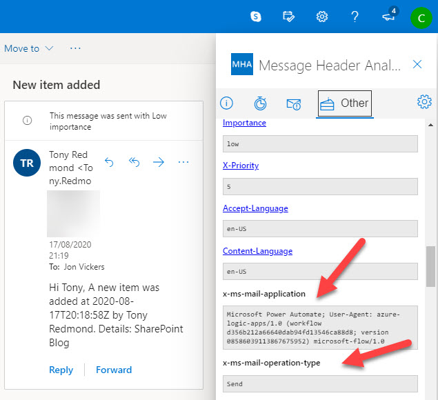 Examining x-headers in a message sent by Power Automate