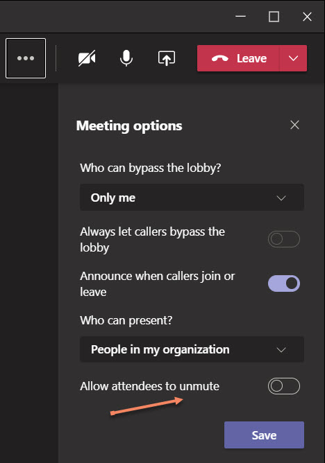 Updating options for a Teams meeting to control attendee unmuting