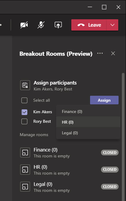 Assigning people to Teams breakout rooms