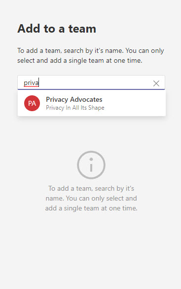 Installing an app into a team