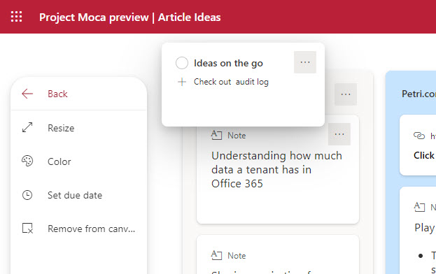 Creating a To Do task in a Project Moca space