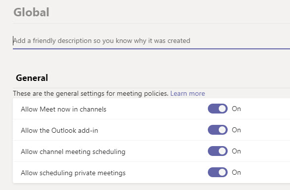 General settings in a Teams meeting policy