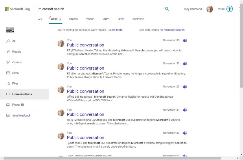 Using Microsoft Search in Bing to find Office 365 tenant resources
