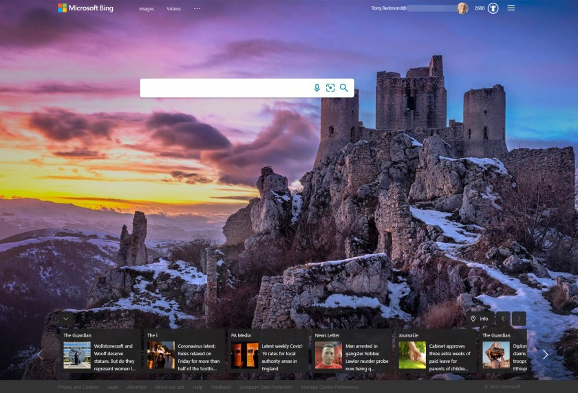 Bing's home page for Ireland on December 8, 2020
