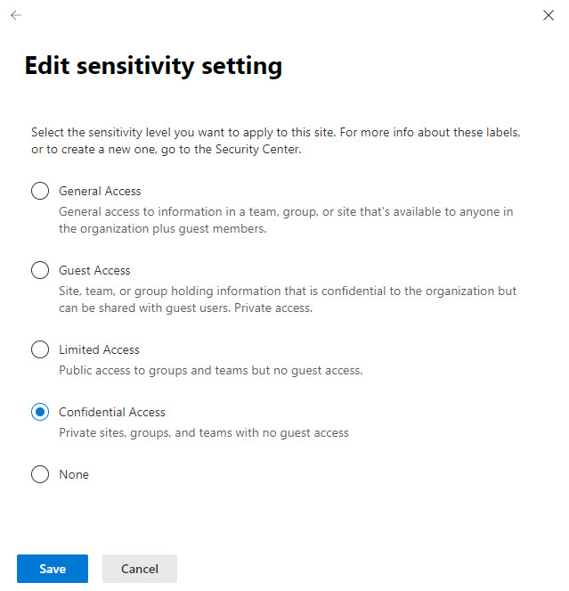 Selecting a sensitivity label to apply to a SharePoint Online team site