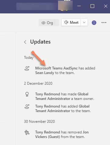 Notification that the Teams AadSync process adds a user to a team roster