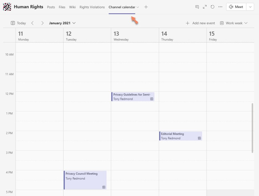 The Teams channel calendar app