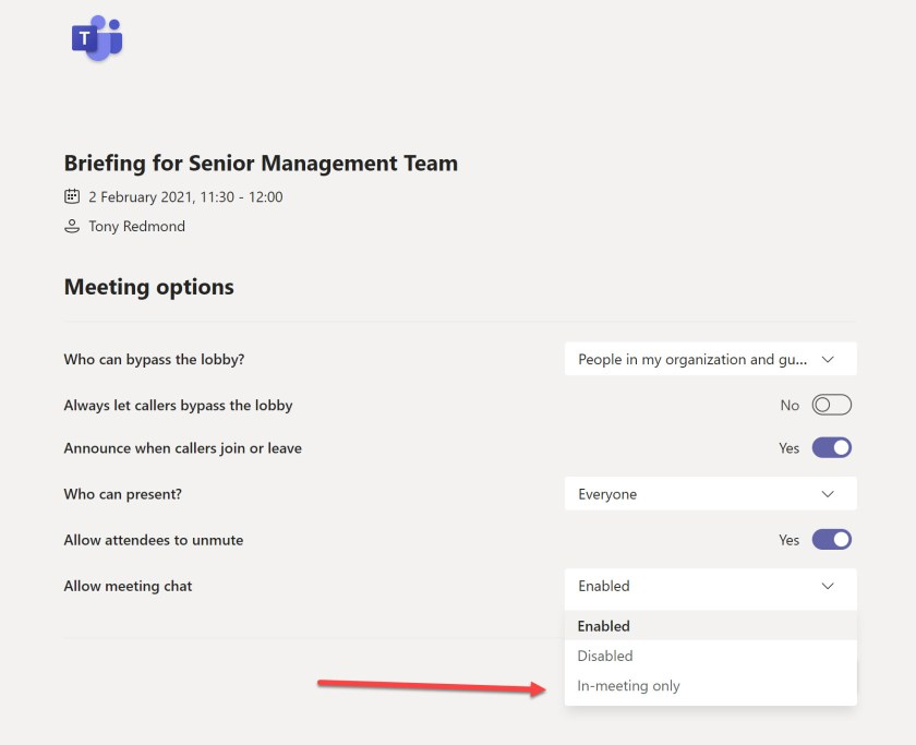 Options to control chat available to Teams meeting organizers