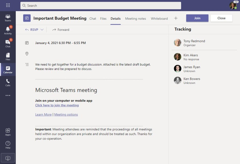 No trace of the Excel attachment appears in the Teams meeting