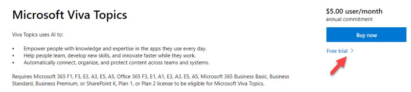Many Microsoft 365 plans can be used with Viva Topics